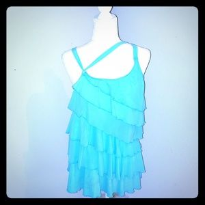 Betsy Johnson Sz Medium NWT Sea Blue Ruffled Top